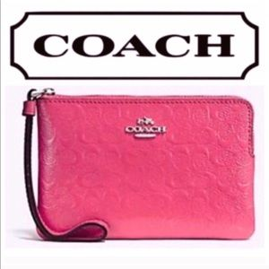 Coach Pink Embossed Patent Leather Wristlet Clutch